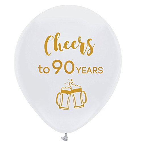 White cheers to 90 years latex balloons, 12inch (16pcs) 90th birthday decorations party supplies for man and woman
