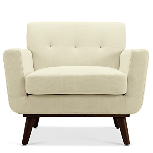 Belleze Modern Contemporary Upholstered Isaiah Mid-Century Accent Button Tufted Cushion Seat Arm Chair (Beige)