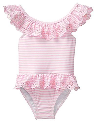 12 Piece Eyelets (Crazy 8 Toddler Girls' 1-Piece Eyelet Ruffle Swimsuit, Pink Stripe, 6-12 Mo)