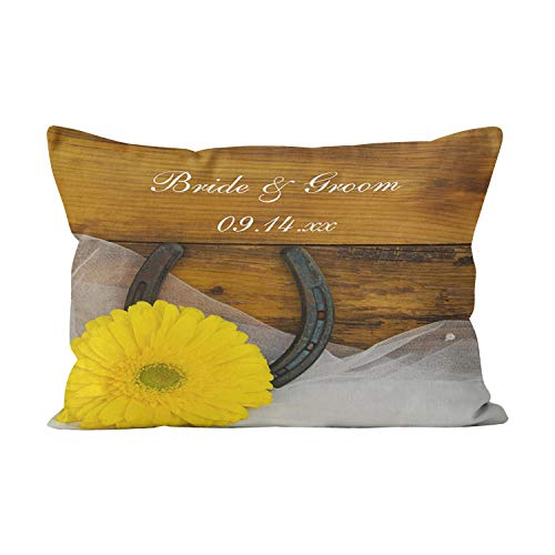 Gygarden Hot Lumbar Yellow Daisy and Horseshoe Country Western Wedding Hidden Zipper Home Decorative Rectangle Throw Pillow Cover Cushion Case 12x24 Inch One Side Design Printed - Pillow Bolster Daisy