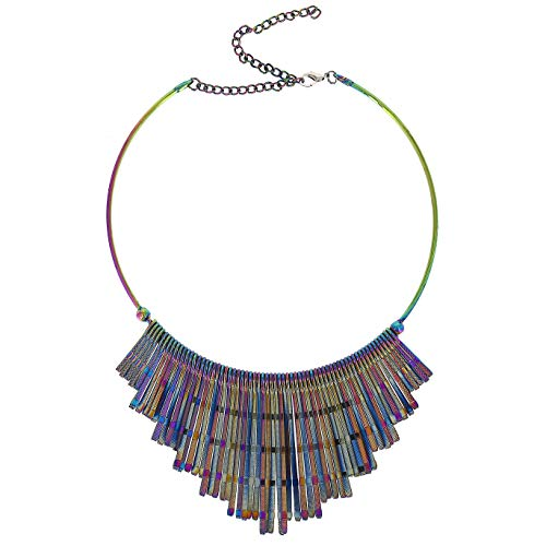 Comelyjewel Fashion Jewelry Girls New Stripe Bib Chain Rainbow Color Women Statement Chunky Necklace