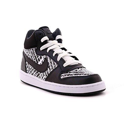 NIKE Boys' Court Borough Mid Print (GS) Basketball-Shoes, Black/Black/White/White, 4 M US Big Kid