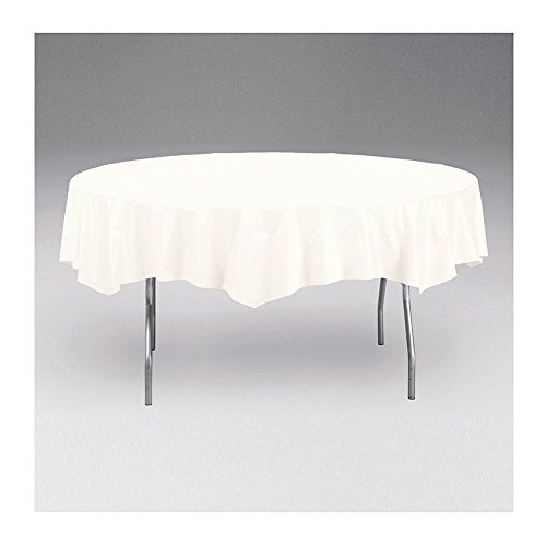 Creative Converting Touch of Color White Round Tablecover (2 - Lined Cover Poly Table