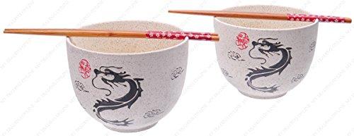 Japanese Style Ramen Udong Noodle Soup Cereal Bowl Set with Chopsticks, Dragon Design, Set of 2 Bowl / 2 Chopsticks, 24-Ounces