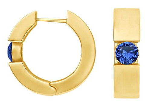 Round Cut Simulated Blue Sapphire Huggie Hoop Earrings In 14k Yellow Gold Over Sterling Silver 14k Yellow Gold Sapphire Hoop Earrings