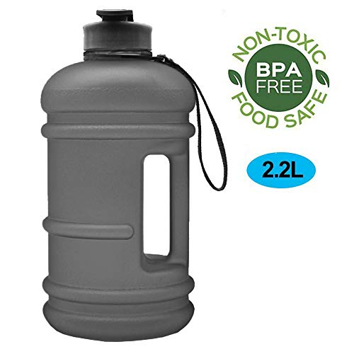 ENINE Water Jug 2.2L Large Sport Water Bottle Big Capacity Leakproof Container BPA Free Plastic with Carrying Loop Fitness for Camping Training Bicycle Hiking Gym Outdoor (2.2L-Matte Black)