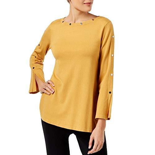 Alfani Womens Embellished Jewel Neck Pullover Sweater Gold L from Alfani