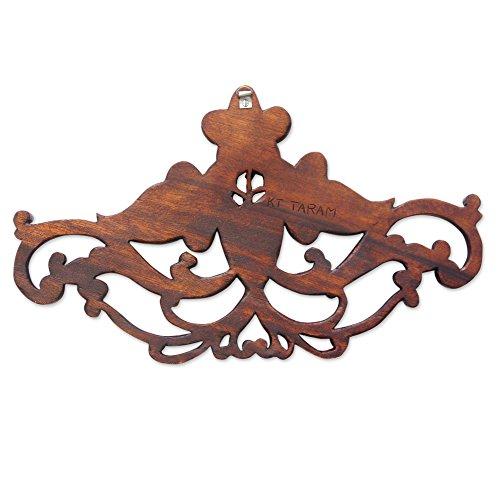 NOVICA Floral Suar Wood Wall Sculpture, Brown, Frangipani Garland' by NOVICA (Image #1)