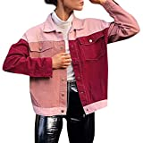 Women Ripped Wash Denim Jacket Jean Coat Hot Pink Long Sleeve Patchwork Pocket Cotton Tops Top Blouse (Pink, S)