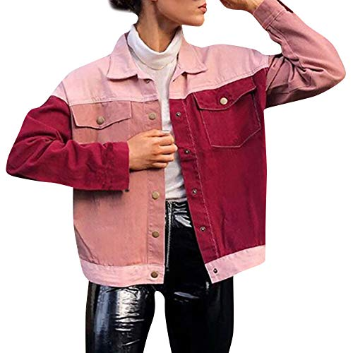 Cardigan Long Pocket Color Outerwear Pink Women Jersh Casual Coat Top Patchwork Personality Cotton Jacket Blouse Women Sleeve wTYpIP