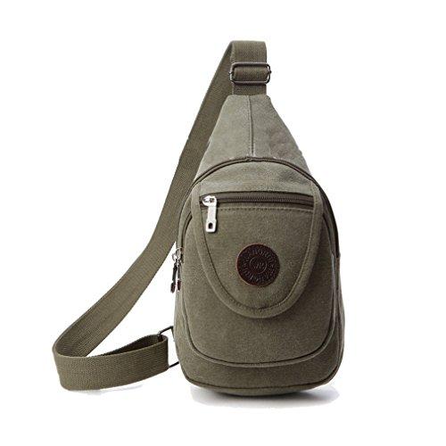 Para hombre Ocio Bolsa de hombro bolsa de deporte Pecho Canvas Messenger Bag Verde