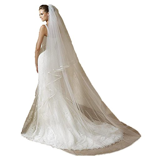 (CongYunGe Women's 2 Tier 3M Tulle Long Satin Ribbon Edge Bridal Veils Ivory 02)