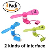 BestYIMU 2-in-1 Mini Fan Portable for iPhone/iPad and Android - Blue/Pink/Green - 3 Piece (Best Gifts)