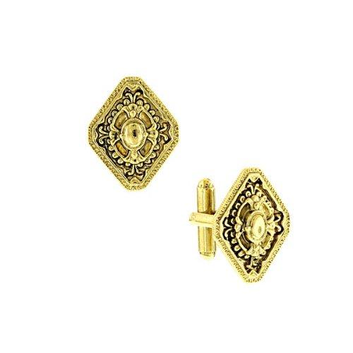Shaped Diamond Cufflinks (14K Gold Dipped Diamond-Shaped Cuff Links)