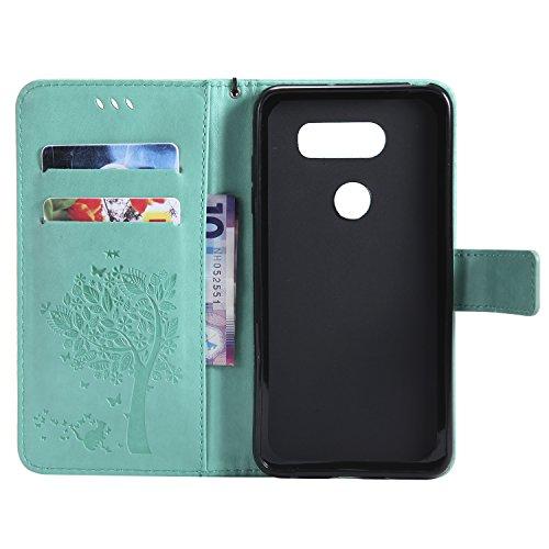 LG V30 Flip Cuero Funda - Alta Calidad Cuero de la PU /Stent/Billetera/Paquete de Tarjetas/Proteccion Caso Cubrir para LG V30(Rosa) Verde