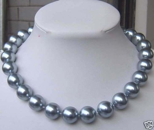 Gray Shell Pearl Necklace - Hot new fashion style 12MM Elegant Silver Gray Shell Pearl Necklace beads jewelry natural stone 18''AAA BV235 Wholesale Price