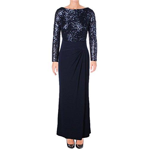 Lauren Ralph Lauren Womens Sequined Long Sleeve Formal Dress Navy (Ralph Lauren Silk Dress)