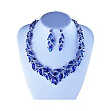 Youfir Event Austrian Crystal Necklace and Earrings Jewelry Set for Bridal Gift