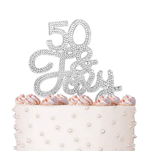 (Rhinestone Crystal Cake Topper Silver, Gold Numbers, Letters, Bling Love, Wedding, Birthday, Anniversary,Sparkles, Shine, Party Decorations Supplies (50 & Foxy)
