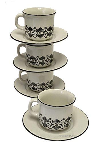 (Set 6 Off-White Folk Floral Pattern Espresso Coffee Demitasse Cups & Saucers )