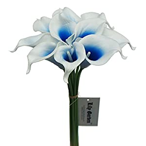 Lily Garden Artificial Picasso Calla Lily Flower Bouquets (Blue and White)