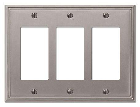 AmerTac 77RRRBN 3 Rocker Brushed Nickel Steel Metro Wallplate (Light Triple Wall Series Fixture)
