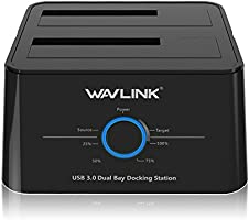 Wavlink USB 3.0 to SATA, Dual Bay External Hard Drive Docking Station for All 2.5/3.5 Inch SATAⅠ/Ⅱ/ⅢSSD HDD, Support...