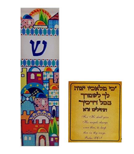 Talisman4U Protection CAR MEZUZAH with Travelers Prayer Scroll Jerusalem Print Mezuza Israel Art Judaica Gift