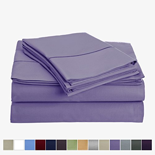 Audley Home 800 Thread Count 100% Egyptian Cotton Extra Long Staple Bed Sheet Set 4 Piece Bedding Extra Deep Pocket Upto 18'' Soft Breathable Hypoallergenic (Full, Orchid) by Audley Home