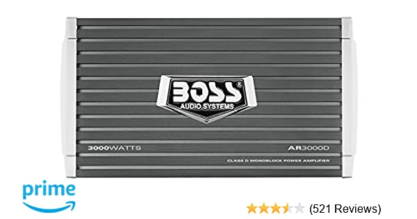Amazon.com: BOSS AUDIO AR3000D Car Amplifier - 3000 Watts, 1/2/4 Ohm Stable, Class D, Monoblock, Remote Subwoofer Control: Car Electronics
