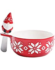 Bico Red Christmas Gnome Dip Bowl with Spreader, Handpainted Ceramic, Dishwasher Safe