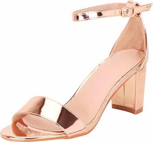 5c12f3630 Cambridge Select Women s Classic Single Band Ankle Strap Chunky Block Mid  Heel Sandal