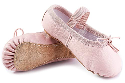 DIPUG Genuine Leather Ballet Shoes for Girls Ballet Slippers for Toddler Dance Shoes (10 Toddler, Pink) -