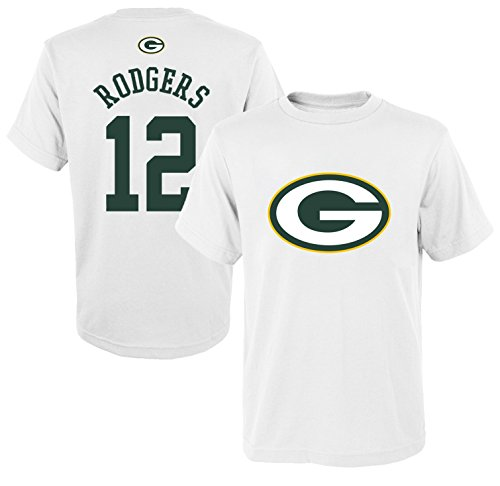Outerstuff NFL Youth 8-20 Mainliner White Player Name and Number Jersey T-Shirt (Large 14/16, Aaron Rodgers) (Youth Aaron Rodgers)