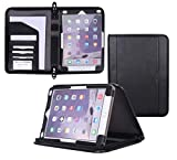 rooCASE iPad 9.7 2018/2017 Case - Premium Leather Executive Portfolio Case - Detachable Sleeve, Document and Card Holder, Apple Pencil Sleeve for Apple iPad 9.7-inch Tablet 2017/2015, Black