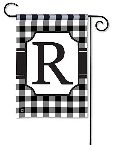 Alabama Monogram - BreezeArt Studio M Black & White Check Monogram R Decorative Garden Flag - Premium Quality, 12.5 x 18 Inches