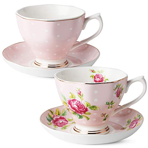 BTäT- Floral Tea Cups and Saucers, Set of 2 (Pink - 8 oz) with Gold Trim and Gift Box, Coffee Cups, Floral Tea Cup Set, British Tea Cups, Porcelain Tea Set, Tea Sets for Women, Latte Cups ()