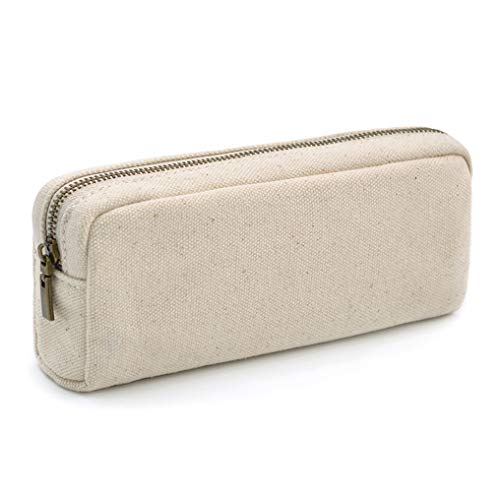 Pencil Pen Case, Dobmit Big Capacity Pencil Pouch Canvas Makeup Bag for Girls and Boys Durable Office Stationery Organizer - Beige