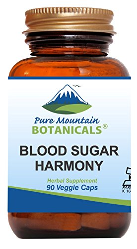 Blood Sugar Harmony 90 Kosher Capsules with Organic Cinnamon Bark, Nopal Cactus, Gymnema Herb, Fenugreek Seed & Chromium from Pure Mountain Botanicals