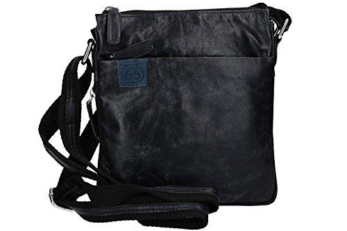 Umgehängt herren ROUTE 66 schwarz bandolier Taschen Kleine aus leder VF367