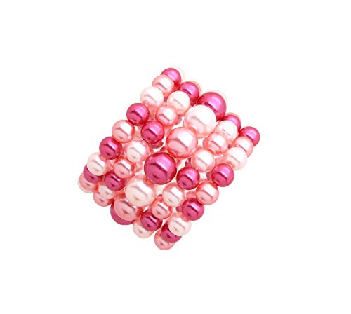 Fashion 21 Women's Simulated Pearl Stretch Bracelet Stack 5 Piece Set (Pink Mix Tone)