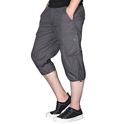 LUCAMORE Men's Long Shorts Cargo Shorts Below Knee Capri Pants Loose Fit with Multi-Pocket Gray