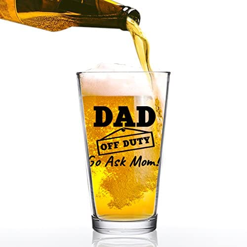 Dad Duty Funny Beer Glass