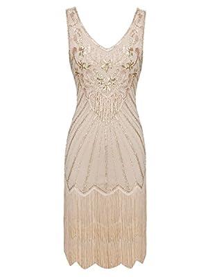 FAIRY COUPLE 1920s Sequined Short Flapper Party Dress Double Layer Tassels Hem Cocktail D20S020