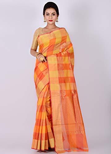 AllSilks Banarasi Silk Cotton Orange Shaded Woven Saree for Women for Women