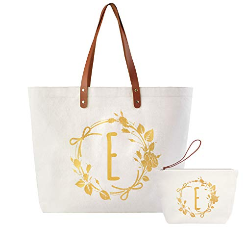 ElegantPark E Initial Monogram Personalized Party Gift Shoulder Tote and Travel Makeup Cosmetic Bag Zipper Canvas 2 Pcs -