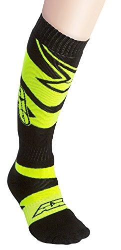 AXO MX Motion Kids Socks (Black/Fluorescent-Yellow, One Size)