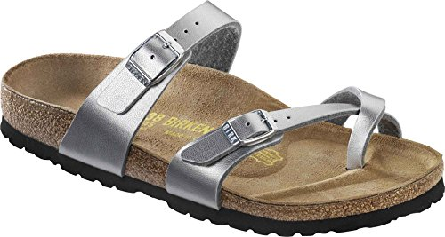 Birkenstock Mayari Ladies Buckle Toe Strap Sandals Silver 38 by Birkenstock (Image #1)