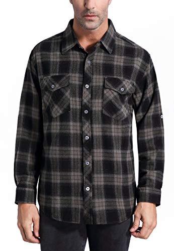 (Coevals Club Men's Long Sleeve 100% Cotton Fleece Plaid Flannel Shirt (#4 Gray/Black, M))