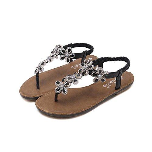 Zapatos Rhinestone Casuales Peep Sandalias Zapatos Black Redondo Bead Mujer Planos La ZZZJR Verano Sandalias Decoración Planos Post Verano Elásticas Playa De De De Chanclas Toe La Zapatos Flor Sandalias zqwgdxA7
